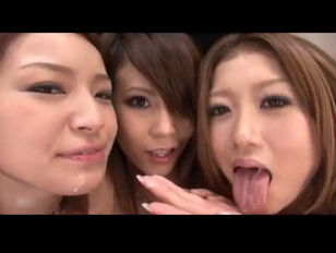 Three Asian Babes Take One Lucky Cock