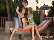 Two Young  Girls Brings With One Guy