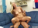 Blonde Milf Pussy Lick And Fucked On The Couch