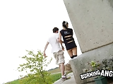 Emo Slut Gives A Blowjob And Fucks Outdoors