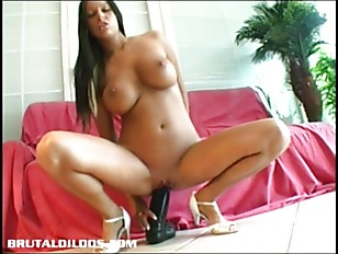 Perfect Teen With Big Tits Inserting A Massive Dildo